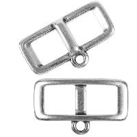 5mm Charm Holder Frame Flat Leather Cord Slider per 10 pieces - Antique Silver