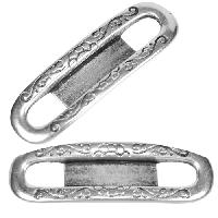 5mm Cowboy Frame Flat Leather Cord Slider - Antique Silver