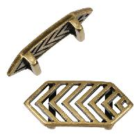 10mm Chevron Flat Leather Cord Slider - Antique Brass