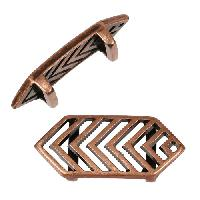 10mm Chevron Flat Leather Cord Slider - Antique Copper