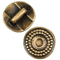 5mm Radiant Circle Flat Leather Cord Slider per 10 pieces - Antique Brass