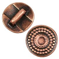 5mm Radiant Circle Flat Leather Cord Slider per 10 pieces - Antique Copper