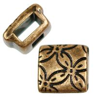 5mm Floral Square Flat Leather Cord Slider per 10 pieces - Antique Brass