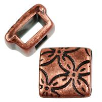 5mm Floral Square Flat Leather Cord Slider per 10 pieces - Antique Copper