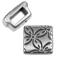 5mm Floral Square Flat Leather Cord Slider per 10 pieces - Antique Silver