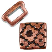 5mm Cross Pattern Square Flat Leather Cord Slider per 10 pieces - Antique Copper