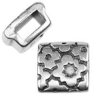 5mm Cross Pattern Square Flat Leather Cord Slider per 10 pieces - Antique Silver