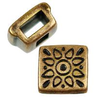 5mm Folk Flower Square Flat Leather Cord Slider per 10 pieces - Antique Brass