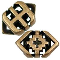 5mm Southwest Rhombus Flat Leather Cord Slider per 10 pieces - Antique Brass