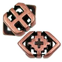5mm Southwest Rhombus Flat Leather Cord Slider per 10 pieces - Antique Copper