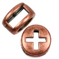 5mm Cross Circle Flat Leather Cord Slider per 10 pieces - Antique Copper