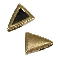 5mm Plain Triangle Flat Leather Cord Slider - Antique Brass