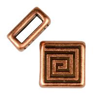 5mm Mini Coil Square Flat Leather Cord Slider per 10 pieces - Antique Copper
