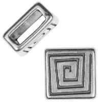 5mm Mini Coil Square Flat Leather Cord Slider per 10 pieces - Antique Silver