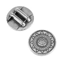 10mm Sun Mandala Flat Leather Cord Slider - Antique Silver