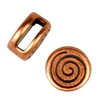 5mm Mini Coil Round Flat Leather Cord Slider per 10 pieces - Antique Copper