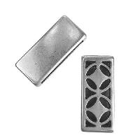 20mm Flat Carved Deco Slider - Antique Silver