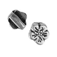 5mm Flat Hibiscus Slider per 10 pieces - Antique Silver