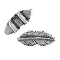 5mm Flat Feather Slider - Antique Silver
