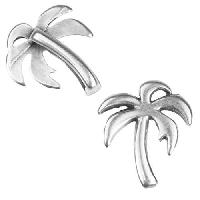 10mm Flat Palm Tree Slider per 10 pieces - Antique Silver