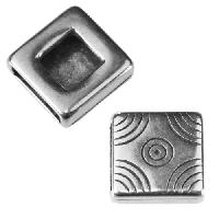 10mm flat ORNATE SQUARE Slider per 10 pieces ANT SILVER
