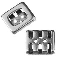 10mm flat SLOTS + DOTS Slider per 10 pieces ANT SILVER