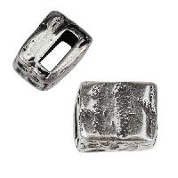 5mm flat DISTRESSED BLOCK Slider per 10 pieces ANT SILVER