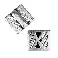 10mm flat GEOMETRIC CUT OUT Slider per 10 pieces ANTIQUE SILVER