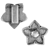 10mm Five Petal Flower Flat Leather Cord Slider per 10 pieces - Antique Silver