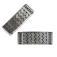 10mm flat WEAVED RECTANGLE slider ANTIQUE SILVER