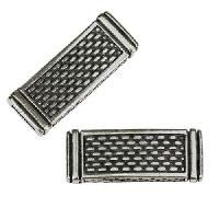 10mm flat DOTTED LINES slider ANTIQUE SILVER