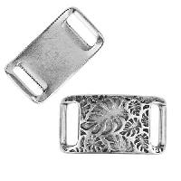 10mm flat PALM LEAVES IDENTITY Slider per 10 pieces ANT SILVER