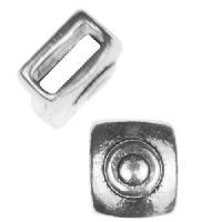 5mm Mini Target Square Flat Leather Cord Slider per 10 pieces - Antique Silver