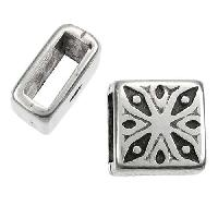 5mm Mini Flower Square Flat Leather Cord Slider - Antique Silver