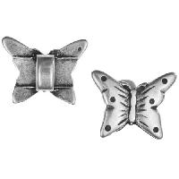 5mm Mini Butterfly Flat Leather Cord Slider per 10 pieces - Antique Silver