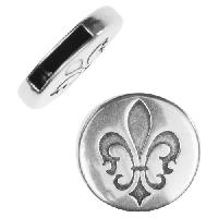 10mm Fleur de Lis Flat Leather Cord Slider per 10 pieces - Antique Silver
