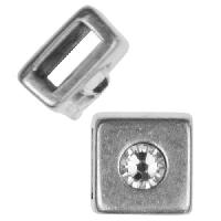 5mm Small Crystal Square Flat Leather Cord Slider per 10 pieces - Antique Silver