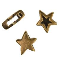 10mm Double Sided Star Flat Leather Cord Slider per 10 pieces - Antique Brass