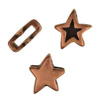 10mm Double Sided Star Flat Leather Cord Slider per 10 pieces - Antique Copper