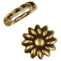 10mm Sunflower Flat Leather Cord Slider - Antique Brass
