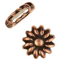 10mm Sunflower Flat Leather Cord Slider per 10 pieces - Antique Copper