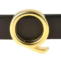 10mm Q Letter Flat Leather Cord Slider - Gold Plated