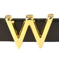 10mm W Letter Flat Leather Cord Slider - Gold Plated
