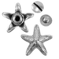 Starfish Screw Rivet Set - Antique Silver