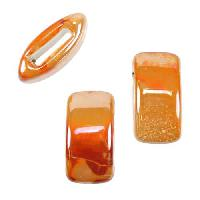 10mm flat PEACH:ORANGE 10mm Wide Ceramic bead