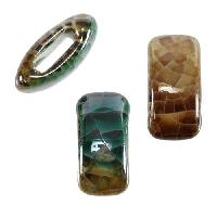10mm flat SEA GREEN:BROWN 10mm Wide Ceramic bead