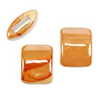 10mm flat PEACH:ORANGE 15mm Wide Ceramic bead