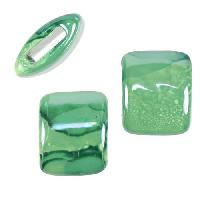 10mm flat TEAL:LIME 15mm Wide Ceramic bead