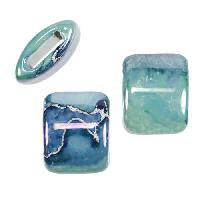 10mm flat LILAC:GREEN:BLUE 15mm Wide Ceramic bead