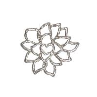 25mm Lacy Flower Pendant / Link - Antique Silver